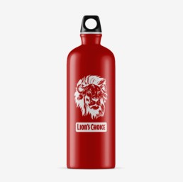 Red aluminum water bottle with Lion's Choice logo.